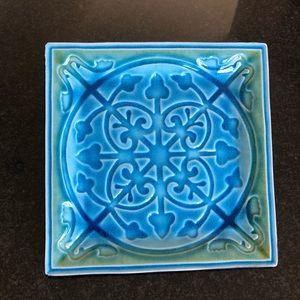 Moroccan Square Tile Stoneware Plate